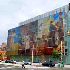 "Mural on Harlem Hospital Center wall -- ""Commissioned in 1936 by Franklin D. Roosevelt's New Deal agency, the Works Progress Administration (WPA), were the first major U.S. government commissions awarded to African American artists and as such sparked great controversy at the time""."