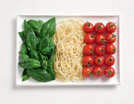 Italy flag made from Basil, pasta, and tomatoes