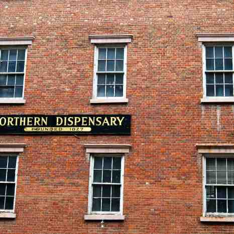 Site of the no-longer Northern Dispensary, where the poor could go when they couldn't afford a doctor