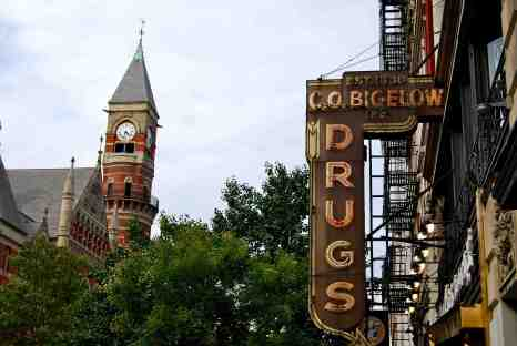 Bigelow Pharmacy signage, with Jefferson Market Courthouse in background