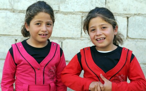 Ala'a and Aya Mousa, 6, both want to be doctors.