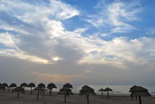 Evening beach umbrellas