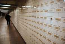 Union Square subway: Names of the 9/11 victims (artist unknown). The woman in this photo was in my tour group, and she was scanning the names (which were in alphabetical order) for the name of her cousin. When she found him, we had all caught up, and a quiet and teary moment came over our small group.