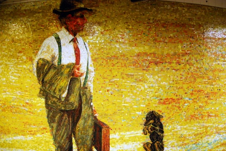 Man contemplates escaping the grind and running away to the circus -- 'The Garden of Circus Delights', by Eric Fischl, 2001, Glass mosaic