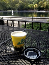 Takeaway latte next to the water in Central Park.