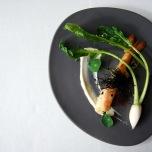 Roasted Port Lincoln prawn, dashi turnip, white almond and sesame