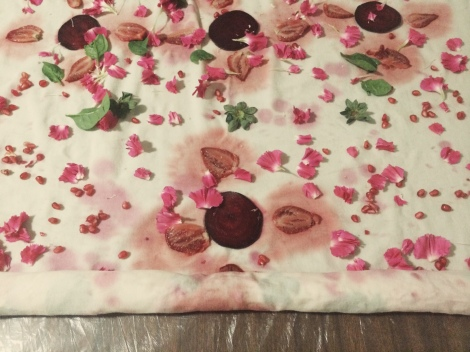 Slowly, tightly role the fabric (this took some care near the firm beetroot as it didn't 'roll' as easy as the rest). If you have a smaller piece of fabric, you might find it easier to start the rolling with a large stick, or piece of dowel.