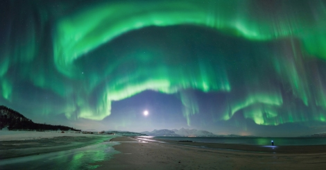 A flamboyant flare up of the aurora over Steinsvik beach, in Nordreisa, Troms, Norway. (Tommy Richardsen; Norway)