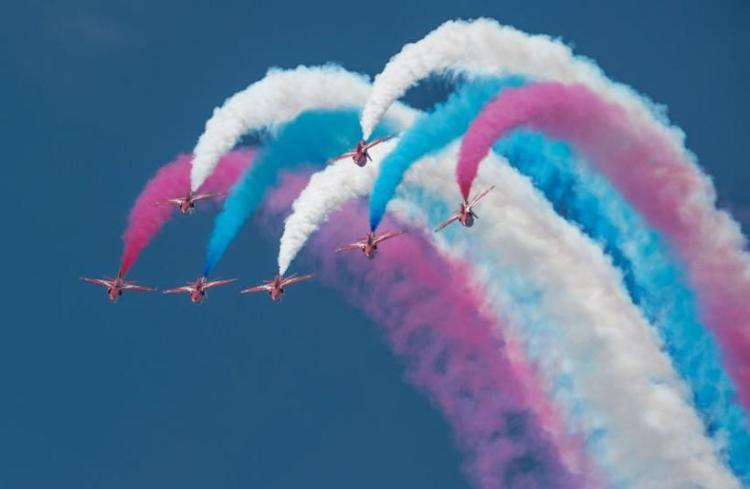 The Red Arrows perform to celebrate their 50th display season; Royal International Air Tattoo, UK (Getty)