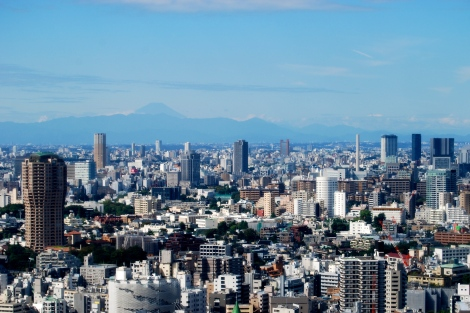Mt. Fuji in the distance -- view from Tokyo Tower