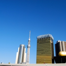 "Tokyo Skytree (centre); Asahi Breweries headquarters building with the ""Asahi Flame"" by Philippe Starck."