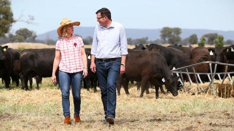Daniel Andrews and wife Catherine on Daniel's family farm in Wangaratta (Herald Sun)