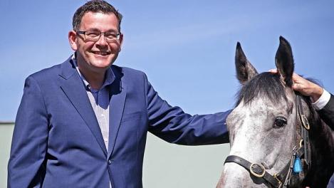 Mr Andrews with Mr Williams' Melbourne Cup runner Fawkner. (Photo: Hamish Blair/Herald Sun)