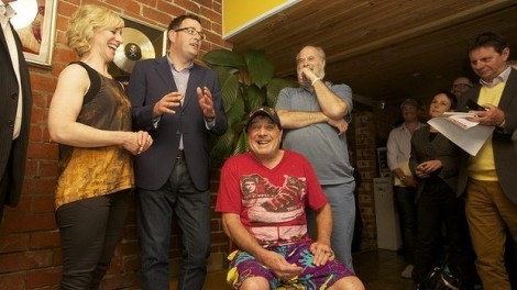 Daniel Andrews with Molly Meldrum and Michael Gudinski at Sing Sing Studios. (Photo: Simon O'Dwyer/The Age)