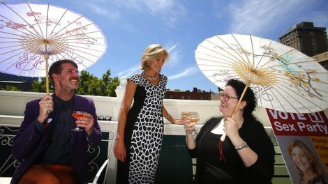 In favour of fun: Joel Murray, Fiona Patten and Francesca Collins (of the Sex Party) enjoy their campaign launch. (Photo: Eddie Jim/The Age)