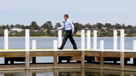 Peter Ryan on the campaign trail (Photo: Angela Wylie/The Age)