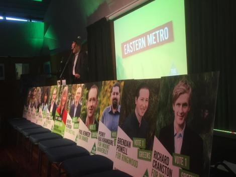 """Here's @GregMLC introducing the lineup of candidates at the Eastern Metro Launch."" (Via @GreensPRK Twitter)"