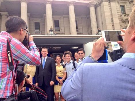 Vic Premier inundated with requests for selfies from school kids on the steps of parliament (Via Annika Smethurst Twitter)