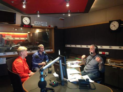 Premier Denis Napthine's family in studio with Neil Mitchell (Via 3AW Melbourne Twitter)