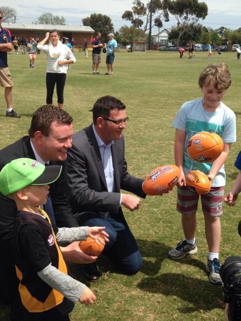 Lots of footballs today (Via Victorian Labor Twitter)