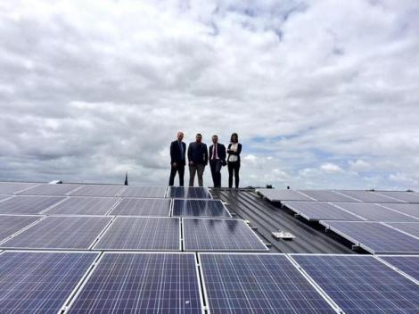 To solar & beyond! Greg (Barber) MLC, Ellen Sandell & Richard Di Natale admiring Richmond FC's rooftop (Via Victorian Greens Twitter)