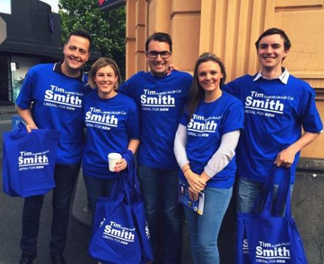Young Liberals out in #Kew this morning with Tim Smith (Via Victorian Young Libs Twitter)