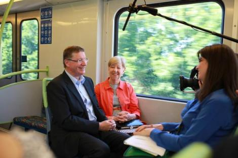 With Peggy on the train to Alamein (Via Vic Premier Twitter)