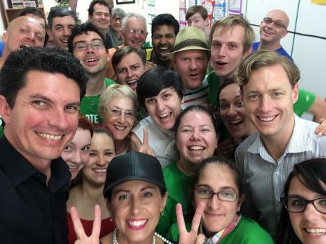 Prahran campaign excitement with Senator Ludlam  (Via Sam Hibbins Twitter)
