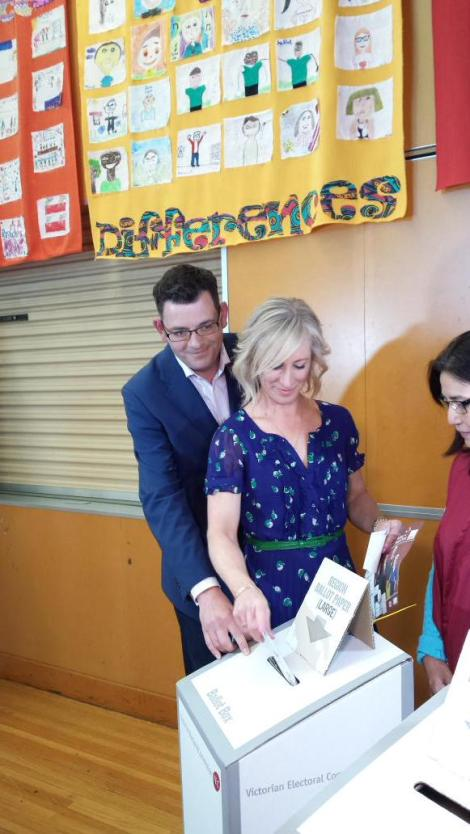 Cath Andrews and I cast our votes this morning at Albany Rise Primary. Beautiful weather for election day (Via Daniel Andrews Twitter)