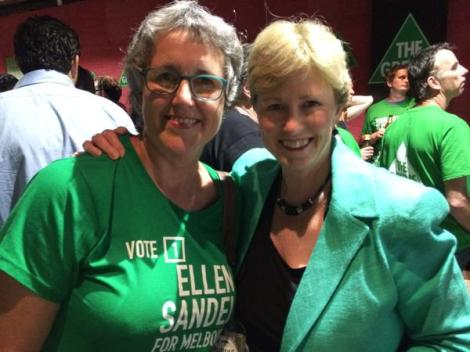 Two very proud mums! Celebrating an excellent campaign & good early signs with Patsy, ellen sandell 's mum (Via Christine Milne Twitter)