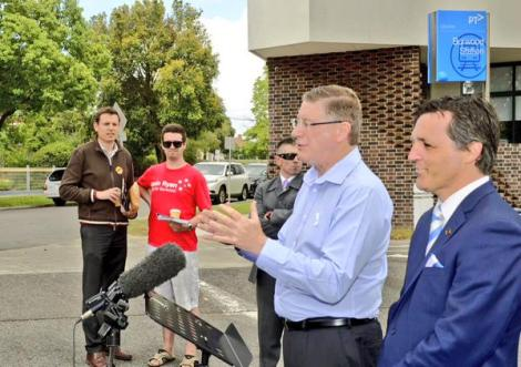 Vic Premier and Burwood MP Graham Watt ran into the Labour candidate Gavin Ryan while campaigning (Via Age photographer Penny Stephens Twitter)