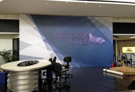 Set is almost ready for VicVotes coverage on ABC TV on Saturday night live from Southbank. (Via ABC News Melbourne Twitter)