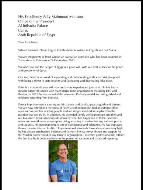 Direct letter appeal from Peter Greste's parents to Egypt's President about his detention P1 (Via @KJBar Twitter)