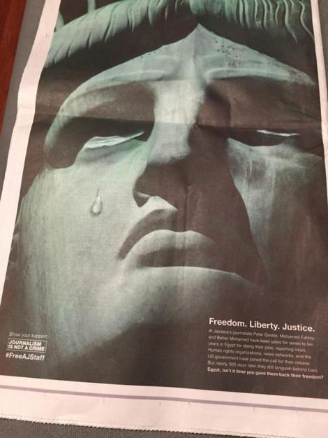 26 September: Back cover of the New York Times (Via @abdallahelshamy Twitter)