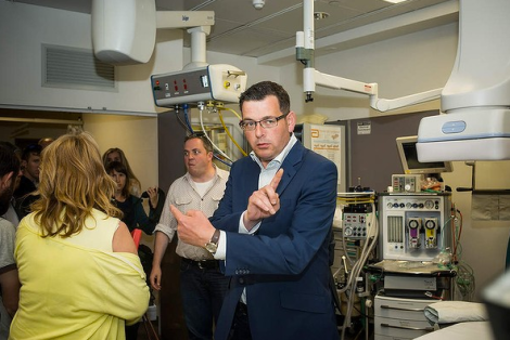 Daniel Andrews Labor Campaign at Monash Medical Centre for an announcement on a new specialty Heart Hospital connected to Monash University. (Photo: Josh Robenstone/The Age)