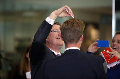 Victorian Premier Denis Napthine at South West Healthcare holding plans for new Southwest Regional Cancer Centre. (Photo: Damian White/The Age)