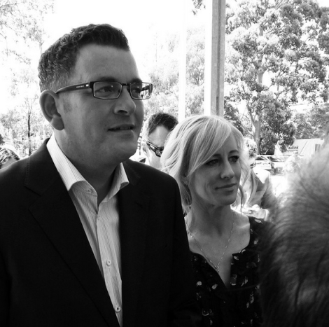 CathLAndrews and I waiting to vote. (Via danielandrewsmp Instagram)