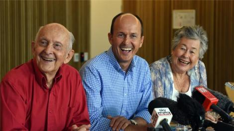 Peter's Greste's brother Andrew (centre), mother and father said his excitement was tempered (EPA via Al Jazeera website)