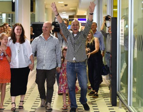 Peter Greste arrives at Brisbane International Airport (AAP)