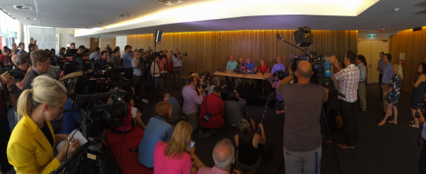 A massive media scrum surrounds freed journalist Peter Greste at his Brisbane press conference on February (Via Sunshine Coast Daily)