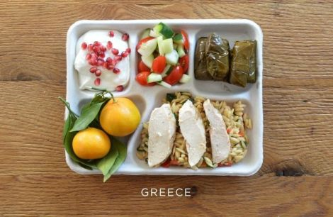Meze please: baked chicken over orzo, stuffed grape leaves, tomato and cucumber salad, fresh oranges, and greek yogurt with pomegranate seeds.