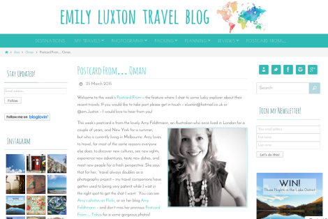 Screenshot of Emily Luxton Travel Blog story 'Postcard from... Oman'