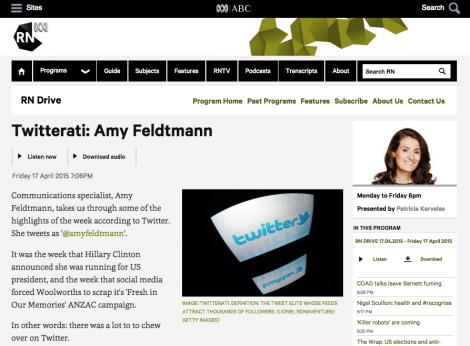 'Twitterati' page on Radio National website