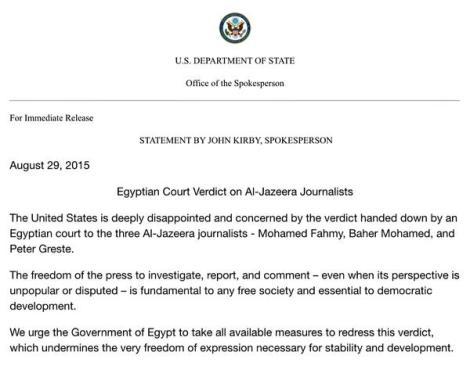 U.S. State Dept statement