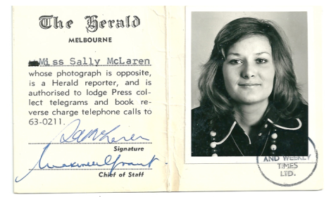 Sally's first press pass in 1974 (Photo via Sally Davis)
