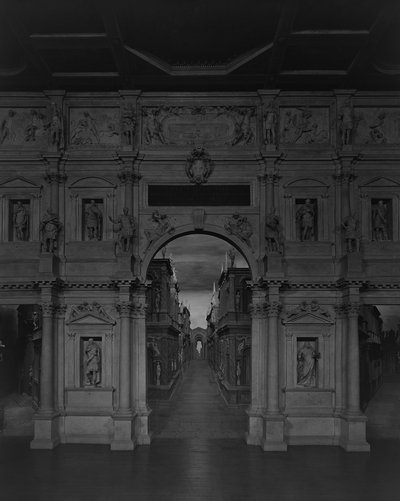 Teatro Olimpico, Vicenza. It was here that Sugimoto realized he had been retracing some of the steps of the teenage Japanese emissaries he had been reading about. A mural in the theater commemorates the night in 1585 that a musical performance was given in their honour. (Photo: Hiroshi Sugimoto)