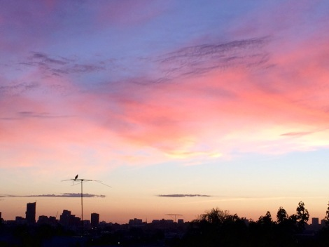 Melbourne sunset, view from Hawthorn, 8 November 2015