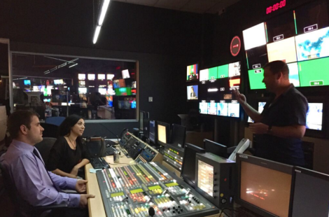 In the Al Jazeera control room with director Alan Adair.
