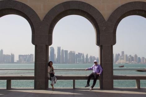 Zac and Scherry in Doha, Qatar.