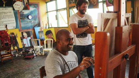 Ben Quilty tutors Australian death row prison inmate, Myuran Sukumaran at Kerobokan Prison in Bali. Picture: Andrew Quilty / OculiSource:News Corp Australia